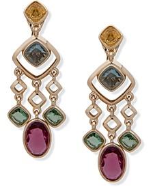 Gold-Tone Multi-Stone Clip-On Chandelier Earrings