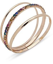 Gold-Tone 3-Pc. Set Stone & Polished Bangle Bracelets, Created for Macy's