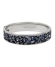 Silver-Tone Sprinkle Stone Hinged Bangle Bracelet
