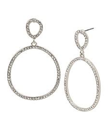 Silver-Tone Pave Gypsy Hoop Earrings