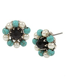 New York Mixed Beaded Deco Flower Stud Earrings