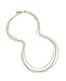 New York Imitation Pearl Bead Layered Long Necklace