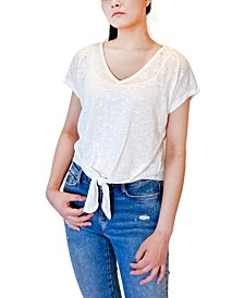Juniors' Eyelet Tie-Front Top