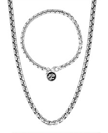"EFFY® 2-Pc. Set Men's Rounded Box Link 22"" Chain Necklace & Matching Logo Bracelet in Sterling Silver"