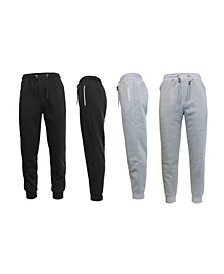 Men's 2-Packs Slim Fit Fleece Joggers with Zipper Pockets