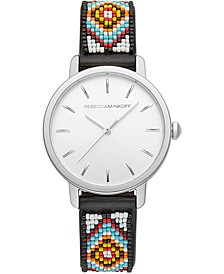 Women's BFFL Black Embroidered Leather Strap Watch 36mm