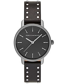 Women's BFFL Studded Black Leather Strap Watch 36mm