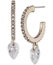 Cubic Zirconia Charm Pavé Huggie Hoop Earrings