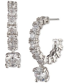Silver-Tone Crystal Charm Hoop Earrings