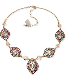 "Gold-Tone Filigree & Multicolor Bead Statement Necklace, 15"" + 3"" extender"