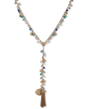 Gold-Tone Chain Tassel Beaded Lariat Necklace