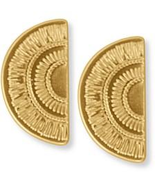 Gold-Tone Etched Semi-Circle Drop Earrings