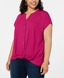 INC Plus Size Twist-Front Top, Created for Macy's