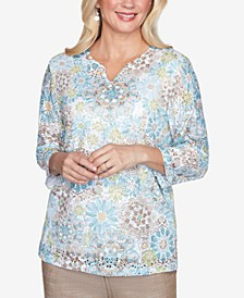 Plus Size Three Quarter Sleeve Medallion Lace Print Knit Top