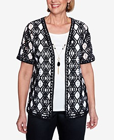 Plus Size Short Sleeve Diamond Lace Two-for-One Knit Top with Detachable Necklace
