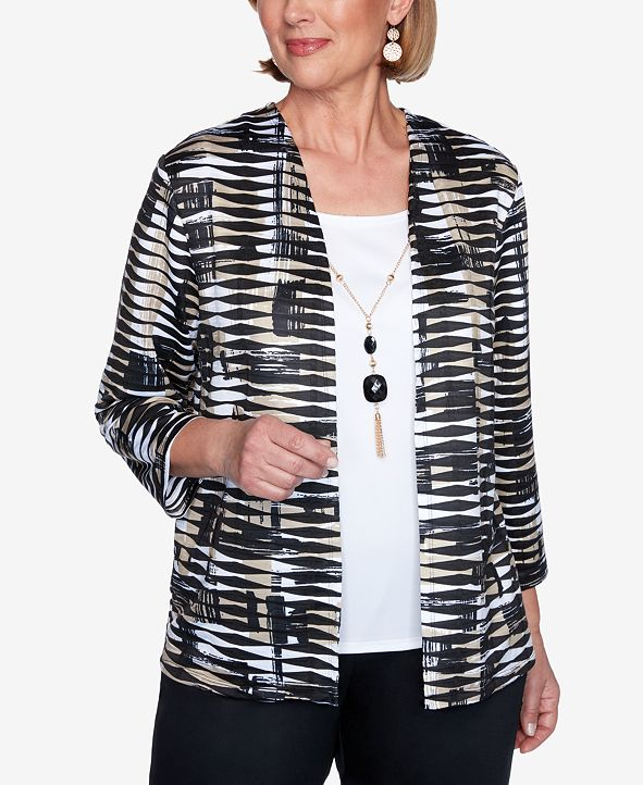 Alfred Dunner Plus Size Three Quarter Sleeve Abstract Print Two-for-One Knit Top with Detachable Necklace