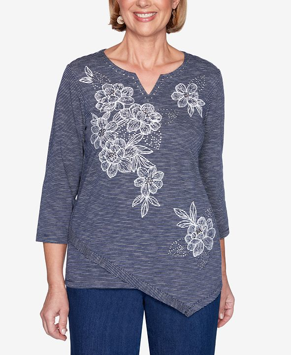 Alfred Dunner Plus Size Three Quarter Sleeve Floral Embroidery Striped Knit Top