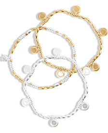 Two-Tone 3-Pc. Set Coin Charm Stretch Bracelets