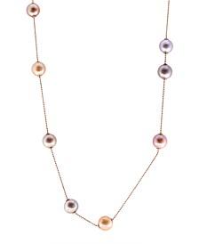 "EFFY® Multicolor Sliding Adjustable Freshwater Pearl (11-12mm) 40"" Statement Necklace in 18K Rose Gold Over Silver"