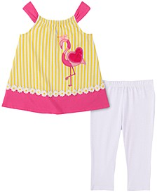 Little Girls 2-Pc. Flamingo Top & Leggings Set