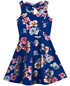 Big Girls Foil Floral-Print Scuba Dress