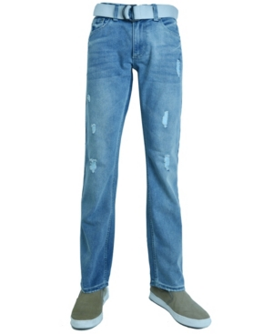 Men's Fashion Regular Fit Ripped Straight Leg Jeans with Belt