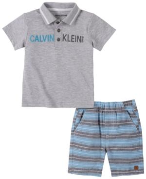 Calvin Klein Baby Boys 2-Pc. Logo Polo & Striped Shorts Set