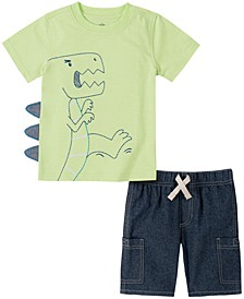 Baby Boys 2-Pc. Dino T-shirt & Denim Shorts Set