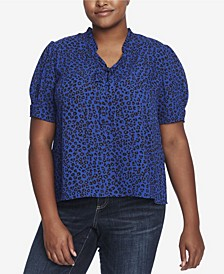 Plus Size Leopard Cluster Short Sleeve Ruffle Top