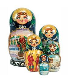 5 Piece Magic Pike Russian Matryoshka Nested Doll Set