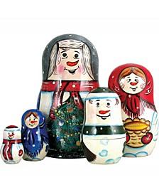 5 Piece Happy Snowman Family Russian Matryoshka Nested Doll Set