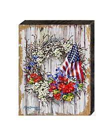 Patriotic Wreath by Dona Gelsinger Wooden Block