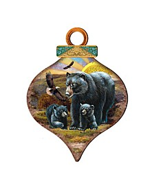 Raising Sun Bears Family Drop Wooden Ornaments, Set of 2