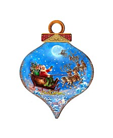 by Dona Gelsinger Santa-Magical-Flight Ornament and Drop Ornament, Set of 2 Each