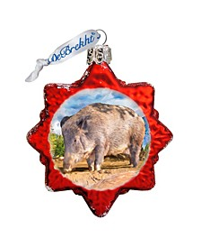 Wild Boar Hand Painted Glass Ornament