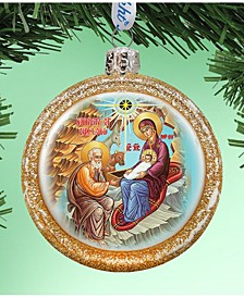 Orthodox Nativity Glass Hand Painted Glass Ornament