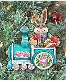 Village Train Ride Bunny Wooden Christmas Ornament Set of 2