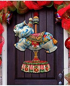 Carousel Elephant Christmas Door Hanger