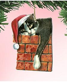 Peeking Tom Santa Cat Wooden Ornament by Laura Seeley Pets Decor Set of 2