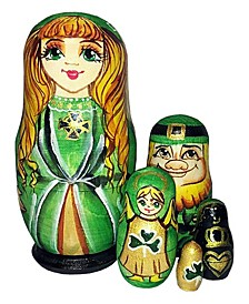 Irish Princess 5 Piece Russian Matryoshka Wooden Nested Dolls Set