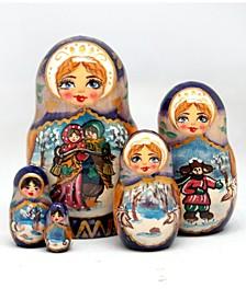 Winter Play 5 Piece Russian Matryoshka Wooden Nested Dolls Set