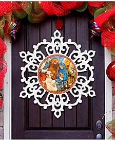 Nativity Snowflake Christmas Door Hanger