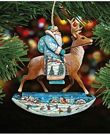 Reindeer Ride Santa Wooden Christmas Ornament Set of 2