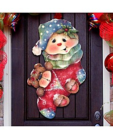 Jamie Mills Price Christmas Bearly Wooden Hanging Sign Decor