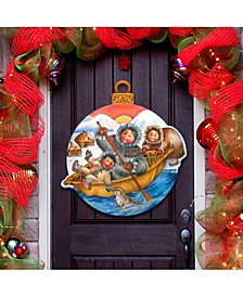 North Pole Santa Christmas Door Hanger