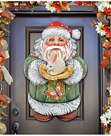 Bunny Santa Christmas Door Hanger