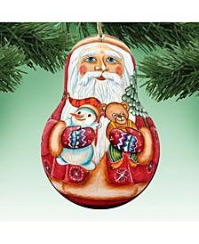 Santa Doll Wooden Christmas Ornament, Set of 2
