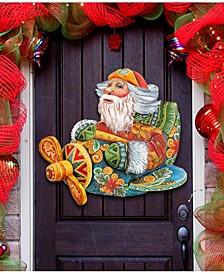 Santa on The Airplane Christmas Door Hanger