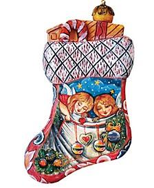 Hand Painted Christmas Santa Stocking Scenic Ornament