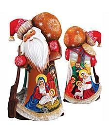 Woodcarved Hand Painted Nativity Santa Figurine